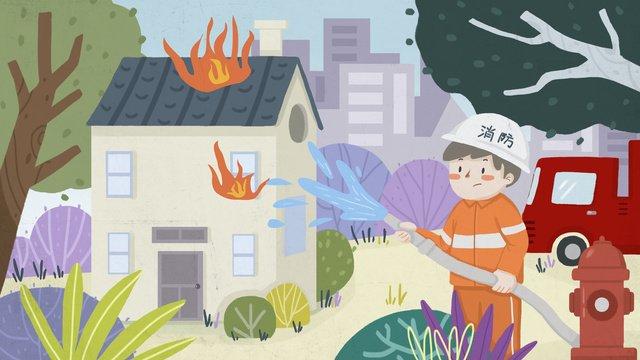 화재 안전 소방 소방관 소화전 삽화 소재 삽화 이미지
