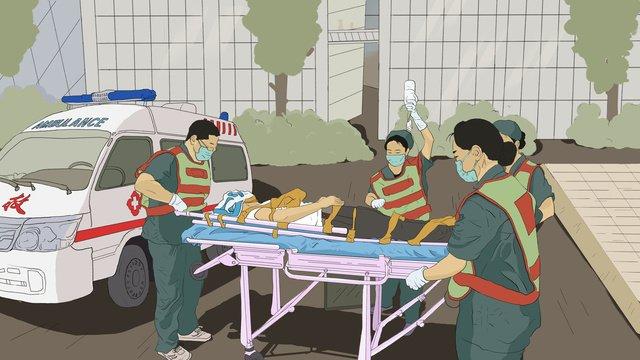 세계 응급 치료의 날 자선 행사 일러스트 레이터 의사 구원의 삽화 소재 삽화 이미지