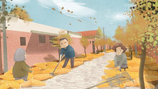 中國首屆農民豐收節秋天玉米大豐收 插畫素材 插畫圖片