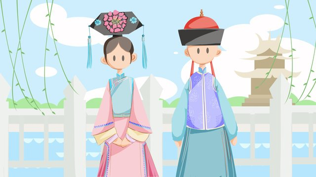 Manchu couple moat weeping willow blue sky and white clouds national characteristics, Flag Man, Manchu, Moat illustration image