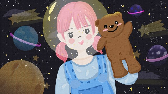 Flat cure starry sky cute cartoon girl with bear on planet, Flat, Lovely, Cartoon illustration image