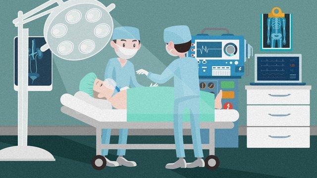 평면 의료 구조 현장 수술실 그림 삽화 소재 삽화 이미지