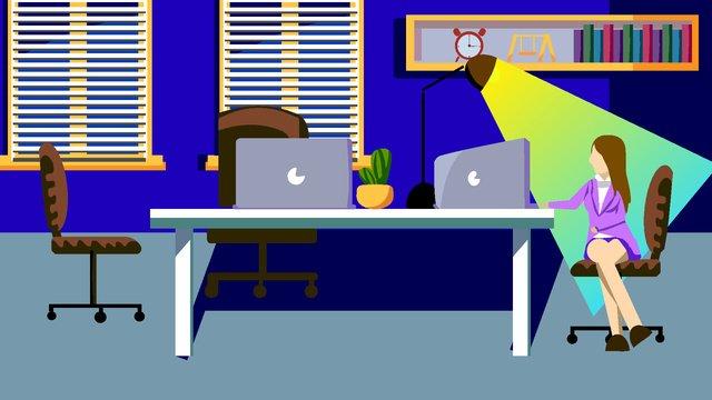 flat office overtime night meeting vector blue illustration work imej keterlaluan