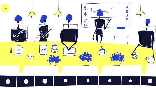 オリジナルのフラットウィンドビジネスオフィスミーティングの図フラット風  ビジネス  事務所 PNGおよびPSD illustration image