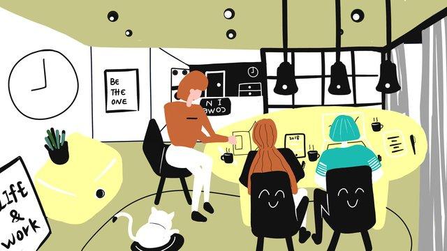 オリジナルのフラットウィンドビジネスオフィスミーティングの図 イラスト素材
