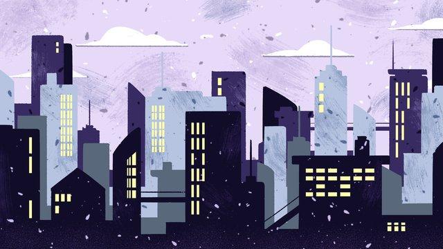 Flat wind city silhouette original illustration llustration image