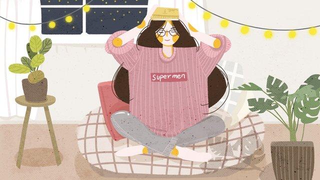 Flat wind hand drawn november hello home girl illustration llustration image