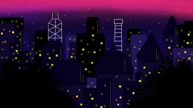 cidade de meia noite ilustração vento plana original Material de ilustração