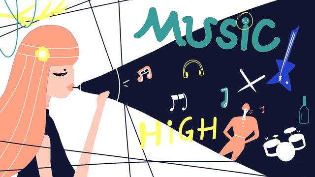 원래 플랫 바람 축제 그림 삽화 소재 삽화 이미지