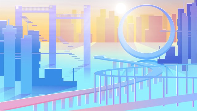 Flat wind technology future water city architecture morning sunlight illustration, Flat Wind, Technology, Future illustration image