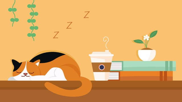 Flower cat Cat go to bed Cute pet, Vector, Geometric, Book illustration image