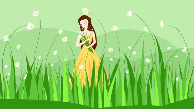 Little white flower yellow skirt girl in the sea of flowers, Flower Sea, Plant, Girl illustration image