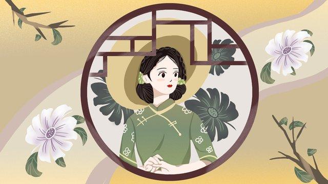 fantasia cheongsam woman llustration image