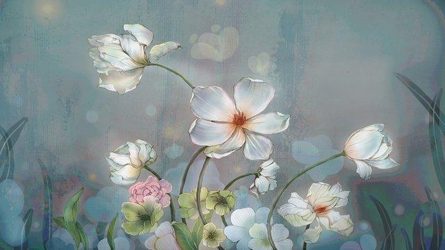 원래 질감 꽃 빈티지 현실적인 그림 삽화 소재 삽화 이미지