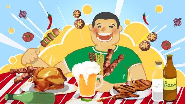 big delicious food barbecue beer illustration llustration image illustration image