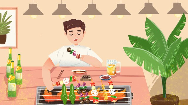 Gourmet barbecue string, Food, Barbecue, Skewers illustration image