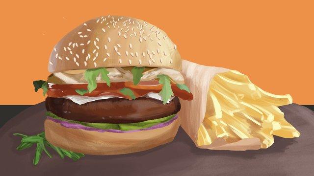 Gourmet big fight hamburger fries original illustration, Food, Burger, French Fries illustration image