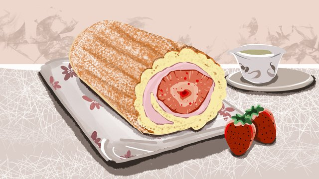 afternoon tea dessert strawberry cake llustration image illustration image