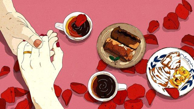 Original food is delicious love rose flower and coffee illustration, Food, Coffee, Rose illustration image