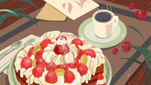 美食甜品下午茶可口蛋糕配咖啡清新原創插畫 插畫素材