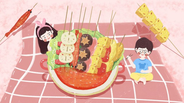 original small fresh illustration   gourmet city hot pot llustration image illustration image