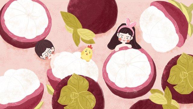 Original small fresh gourmet fruit city mangosteen illustration, Food, Fruit, Mangosteen illustration image