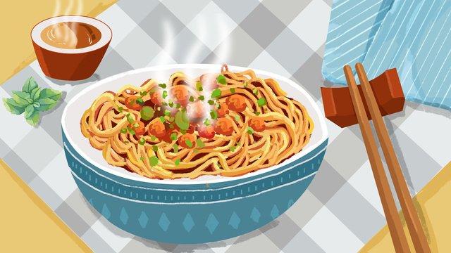 グルメ戦争武漢ホット乾燥麺繊細で現実的なイラスト イラスト素材 イラスト画像