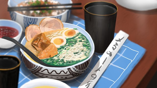 Original food big fight japanese material ramen delicious realistic illustration, Food, Hand-pulled Noodle, Daily Material illustration image