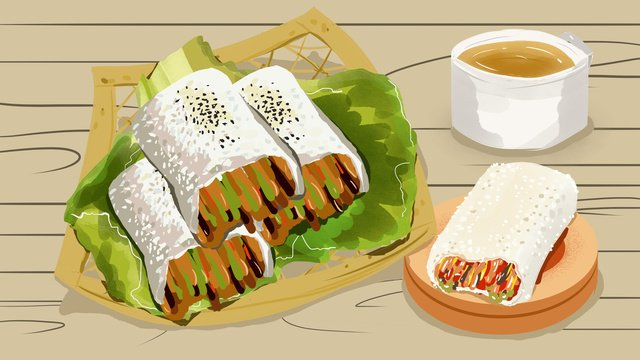 Wuhan food glutinous rice noodles illustration, Food, Illustration, Wuhan illustration image