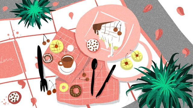 Gourmet pastry snack afternoon tea coffee illustration llustration image