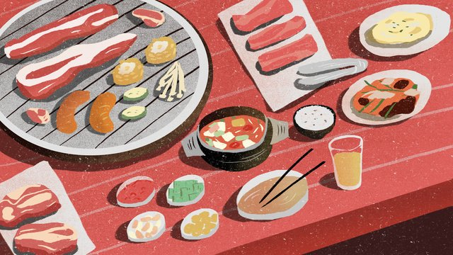 Gourmet day and night barbecue grill illustration, Food, Stay Up Late, Barbecue illustration image