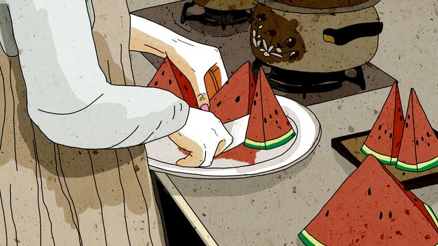 Original food is a girl who cuts watermelon and summer fruit fresh illustration, Food, Watermelon, Girl illustration image