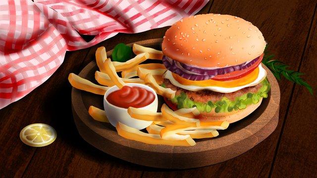 gourmet western food hamburger fries ketchup khay khăn trải bàn màu hồng Hình minh họa