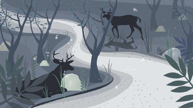 Forest with deer hand drawn illustration, Forest And Deer, Animal, Blue illustration image
