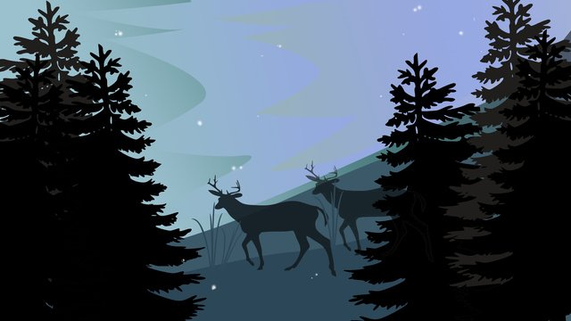 Forest with deer hand drawn illustration, Forest And Deer, Animal, Tree illustration image