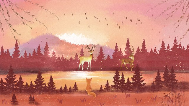 Forest and deer cure hand drawn illustration, Forest And Deer, Autumnal, Twenty-four Solar Terms illustration image