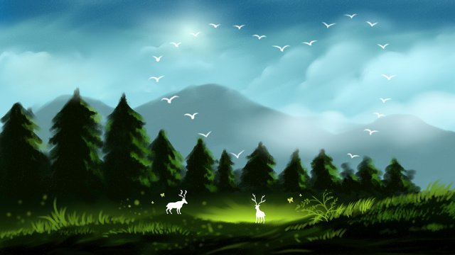 healing system beautiful forest and deer illustration llustration image illustration image