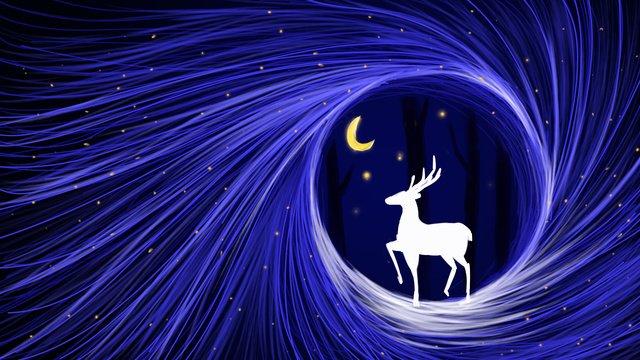 Forest and deer deer forest moon, Coil, Dream, Blue Tone illustration image