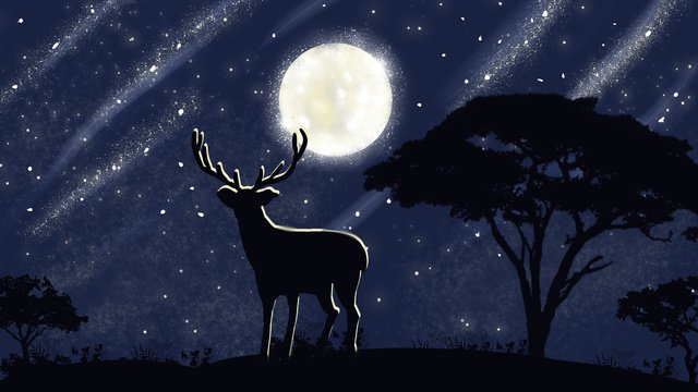 Forest and deer series under the moonlight cure illustration poster with map, Forest And Deer, Deer, Moonlight illustration image
