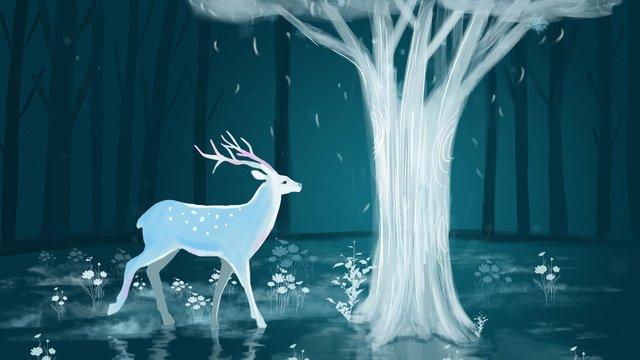 Deer chữa poster minh họa với rừng và hươu dưới gốc câyRừng  Và  Hươu PNG Và PSD illustration image