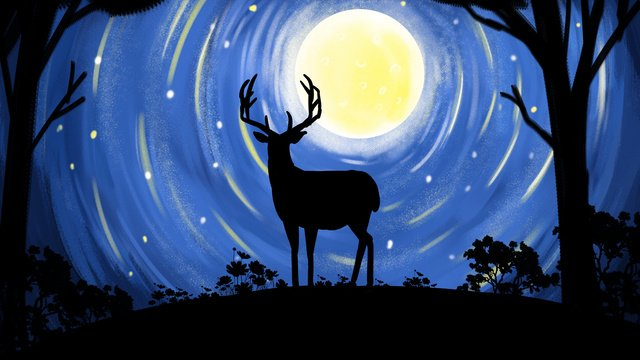 Deer healing illustration poster with forest and series in the moonlight, Forest And Deer, Moon, Deer illustration image