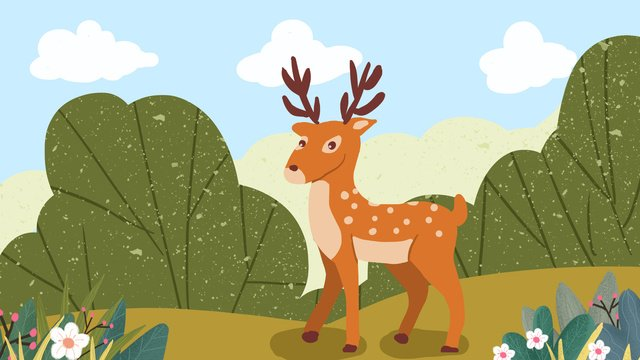 Forest and deer sika small fresh hand-painted original illustration, Forest And Deer, Sika Deer, Small Forest illustration image