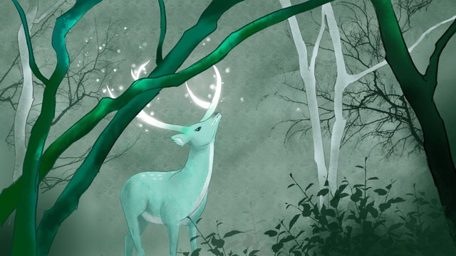 Simple and fresh forest deep see deer illustration, Forest And Deer, Small Fresh, Be Quiet illustration image