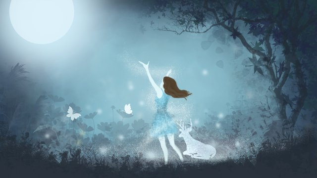 Forest with girl and deer llustration image