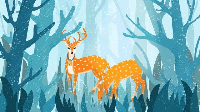 Forest and deer cure illustration, Forest Deer, Deer, Forest illustration image
