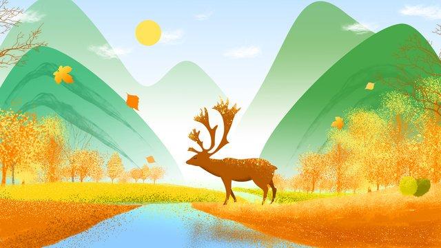 Forest deer hand drawn illustration, Forest, Deer, Elk illustration image