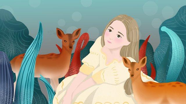 वन और हिरण परी कथा सपना राजकुमारी चित्रण छवि चित्रण छवि