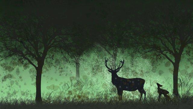 Hand painted healing deer strolling in the forest, Forest, Deer, Fallen Leaves illustration image