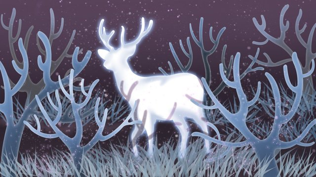 Healing illustration forest and deer, Forest, Deer, Forest And Deer illustration image