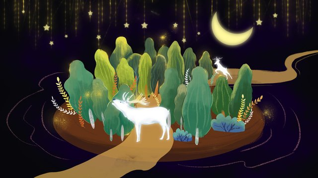 hand drawn night moonlight forest with deer llustration image